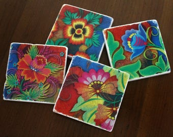Stone Coasters - Tropical Garden // Tumbled Marble Tile Coasters // Set of 4 // Floral Decor // Gifts for Gardeners