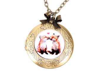 Two foxes in love locket Necklace, 2020m