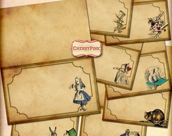Alice in Wonderland Place cards, vintage sepia style, digital party decoration featuring mad hatter, white rabbit, red queen.