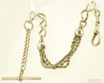 """10"""" Sterling silver mixed style vintage pocket watch chain with a classic t-bar"""