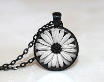 Daisy Necklace Glass Tile Jewelry Flower Necklace Flower Jewelry Daisy Jewelry Black Jewelry Black Necklace