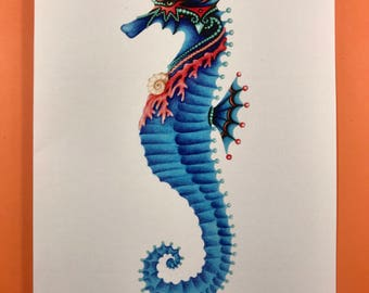 Royal Seahorse greeting card