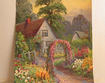 Peaceful THATCHED COUNTRY COTTAGE Litho Print Spring Rose Arch Blooming Garden Picket Fence Rustic Paths, 7 x 9 Vintage 1920 Calendar Art