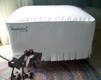 Ottoman Slipcover with Knife Pleats, Washable Canvas Ottoman Cover
