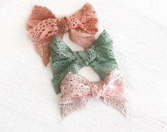 Lace Bow Set | Girls Hair Bows | Lace Bows | Baby Bow Set | Lace Hair Bows | Baby Headband | Lace Headband | Pink Bows | Bow Set | Newborn
