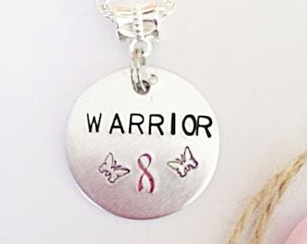 Warrior Necklace, Hand Stamped Necklace, Cancer Necklace, Awareness Necklace, Awareness Jewelry, Cancer Survivor Gift