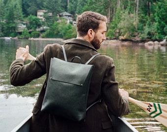 The Pioneer BACKPACK | Black LEATHER Backpack | Leather Minimal Backpack | Leather Backpack