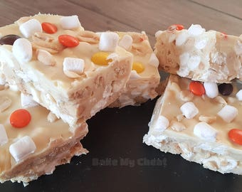 White Chocolate Peanut Butter Rocky Road Tray