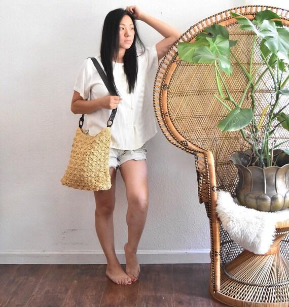 woven straw netting boho shoulder bag / beach bag / market tote