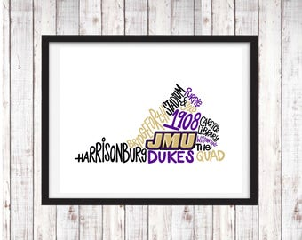 James Madison University | JMU Dukes | Printable Art | College Student Gift | College Graduation | Dorm Room Decor | Wall Art | Wall Decor
