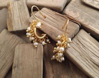 Hook Earrings With Genuine Pearls