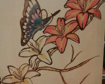 Wood burned Lillies and Butterfly