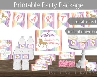 Unicorn Party Printables Package | Unicorn Instant Digital Download | Editable Text | Unicorn Glitter Party Decorations | Unicorn Party