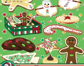 Christmas Cookies clipart , printable instant download, cookie clip art, cookie swap, cookie exchange, gingerbread man, Holiday party.