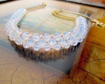 Bridal Pink Necklace, Swarovski crystal necklace, Swarovski pearl necklace, Elegant Bridal, Special Occasion necklace