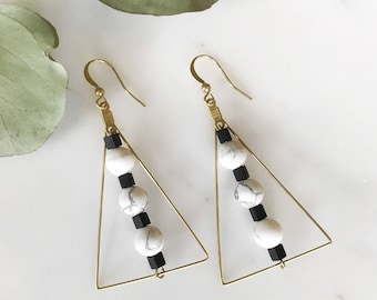 Brass Triangle and Stone Earrings