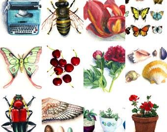 2018 Calendar, Printable, Instant Download,  Watercolor Butterflies, typewriter, plants