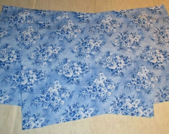 Matching Pair of Standard Size Cotton Pillow Cases - Blue and White Floral