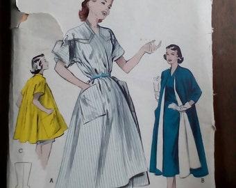 "1950s Wrap Dress / Coat - 34"" Bust - Butterick 6128 - Vintage Sewing Pattern"