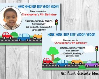 Customized Cars Birthday Party Invite- Digital File/ Transportation Themed Party Invitation/ Cars Themed Party/ Cars Themed Invite