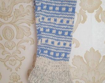 Woven Wool Socks With Light Blue Pattern
