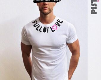 "Pistol Boutique Mens ""FULL OF LOVE"" Chest heart Slogan White Crew neck fashion Tshirt"