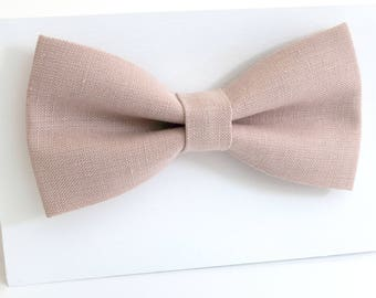 Dusty rose color  linen bow tie, wedding necktie, linen necktie,  groomsmen necktie,   Dusty rose necktie, bow tie for men