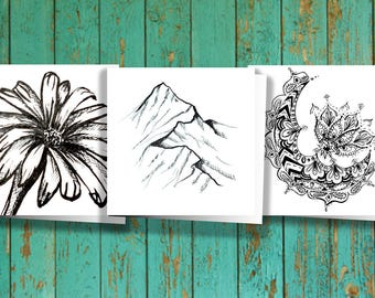 3x3 Black and White Variety Pack - 3 Cards