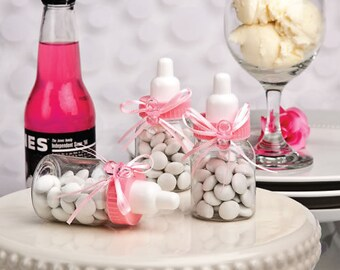 48 Pink Baby Bottle Favors - Set of 48