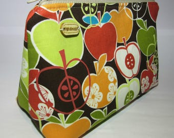 SALE Cosmetics Pouch Bag Make Up Toiletry Cotton Zip Top Laminated lining Retro Print Apples