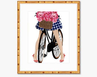 Budding Fashionista -- Watercolor Bike Print with a Basket of Peonies -- Home Decor