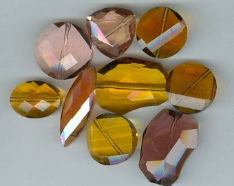 Bag O Crystal Beads - Faced Freeform Pink and Tan Glass Bead 870
