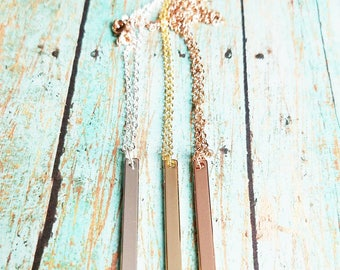 Personalized Skinny Bar Necklace - Rose Gold Bar Necklace - Gold Bar Necklace - Silver Bar Necklace - Custom Stamped Skinny Bar Necklace