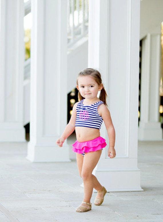 Girls Monogrammed bathing suit monogram swim suit prep stripe monogram swim suit Preppy swim suit baby girl swim suit