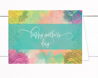 Mothers Day Card - Watercolor Paisley Printable Mothers Day Card Instant Download - 5x7 Foldable Mothers Day Card - Mothers Day Gift
