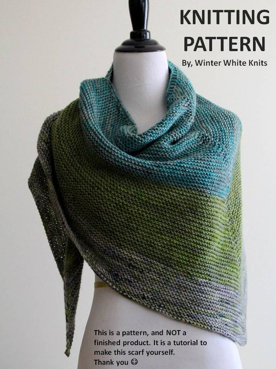 Knitting Pattern- knit shawl, knit scarf pattern, PDF Instant Download  Knitting Pattern, NOT a finished product, make it yourself tutorial from ...