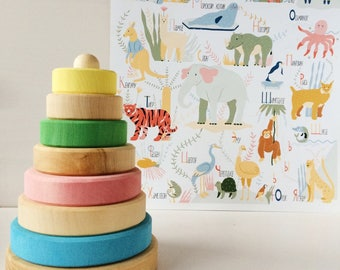 Stacking tower | wood stacking tower | Pastel toy | Natural wood| Eco wood |