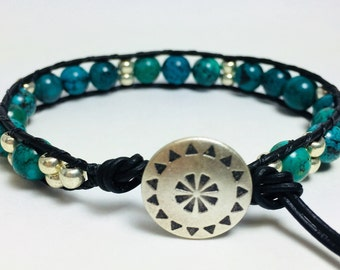 African Turquoise, African Turquoise Wrap Bracelet, Leather Wrap Bracelet, Boho Wrap, Boho Wrap Bracelet, Turquoise Bracelet, Gift for Her