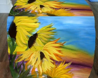 Sunflowers field bean bag foot stool or furniture cube ottoman from my art