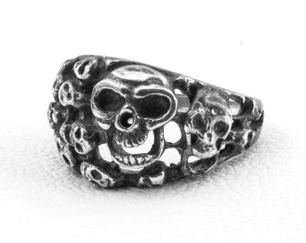 Memento Mori Ring Silver Skull Ring Gothic Jewelry Ring Sterling Silver 925 Steampunk Ring Contemporary Ring Hipster Ring Custom Ring