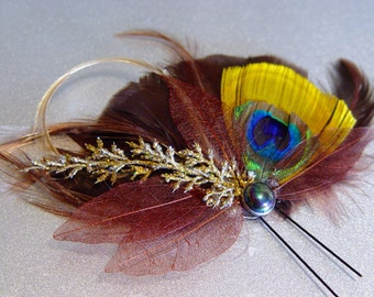 Brown and Gold Peacock Feather Fascinator Comb Bridal Wedding Hair Piece