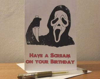 Scream Film Birthday Greetings Card - Geeky Cult Film Reference