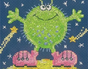 Alien Cross Stitch Kit from Heritage Crafts , Counted Cross Stitch, Cross stitch kit, alien monster cross stitch , gift for a child