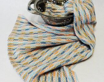 Tea Towel, Hand Towel, Handwoven Cotton Towel for Kitchen or Bath, Kitchen Towel, Cotton Towel, Woven Towel - (#12-10 white weft)