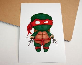 Mini Raphael - 4x6 Print [ TMNT  / Fan Art / Chibi ]