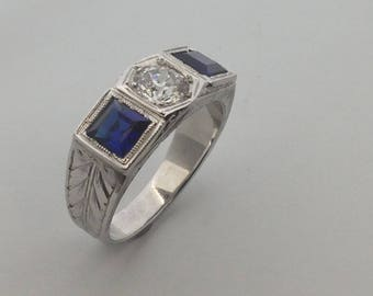 Art Deco Style Ring with Natural Diamond and Created Sapphire Solid 18kt White Gold