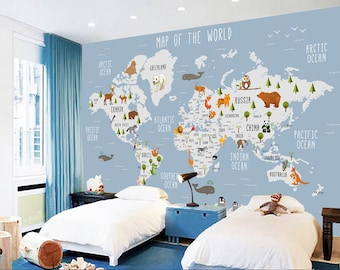 Animal World Map Etsy