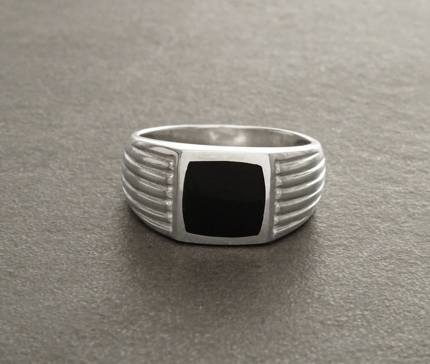 Onyx Signet Ring Sterling Silver Edged Cushion Signet Ring