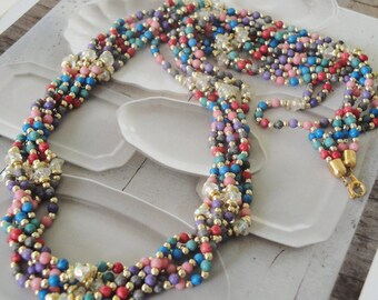 Vintage Multi Strand Long Colored Beaded Necklace