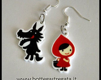 Earrings little Red Riding Hood and the Wolf, Little Red Riding Hood fairy tale Wolf Earrings
